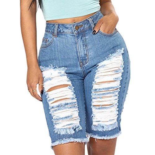 Buco Elasticizzato Azzurro E In Skinny Alta Vita Con Strappati Stretto Donna Jeans Bicchierini A Denim Shorts Kairuun Pantaloni tfRqTwn4