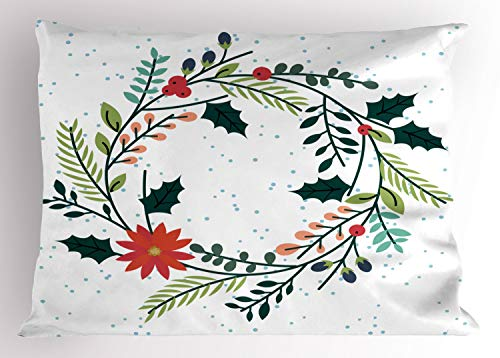 "Lunarable Poinsettia Pillow Sham, Simplistic Illustrated Wreath with Holly Berry Leaves and Flowers with Dots, Decorative Standard Queen Size Printed Pillowcase, 30"" X 20"", Multicolor"