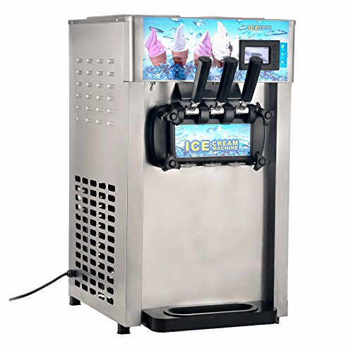 Mophorn Ice Cream Machine Commercial 1200W Soft Serve Ice Cream Machine LCD Display Ice Cream Maker Machine 18L/H(4.75 Gallon/H) with 3 Flavor 110V