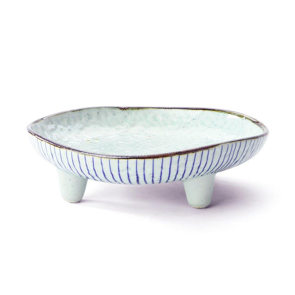Tripod White Blue Ceramic Pastries/Salad/ Dessert/Hot Pot Dinner Plate Suitable For Buffet, Hotpot Restaurant, Household(Blue Line)