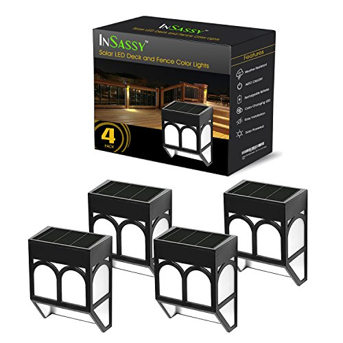 InSassy Solar Powered LED Deck Lights, Waterproof Solar Wirelsess Outdoor Fence Wall Stair Light for Landscape Patio Garden Yard Driveway Path