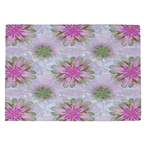 DiaNoche Kitchen Place Mats by Pam Amos - Abstract Flower Tile Pink Green Large 4x6 Ft