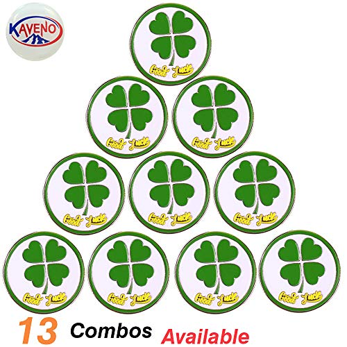 kaveno Golf Ball Marker, Golf Collection Series Assorted Design, Pack of 5/10/20 (Marker Clover 10)]()