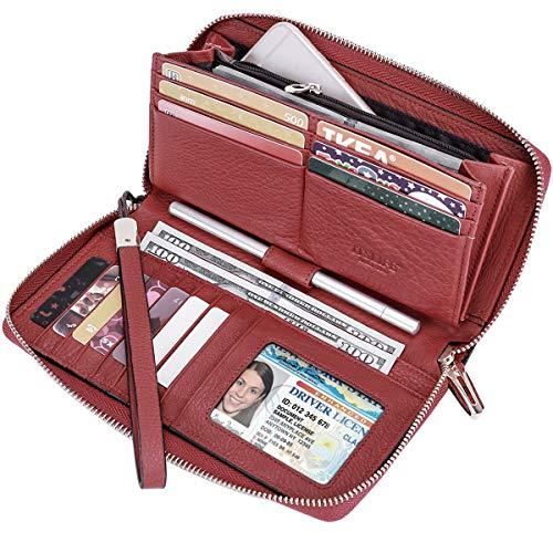 Itslife Women RFID Blocking Wallet Leather Zip Around Phone Clutch Large Travel Purse Wristlet (Red)