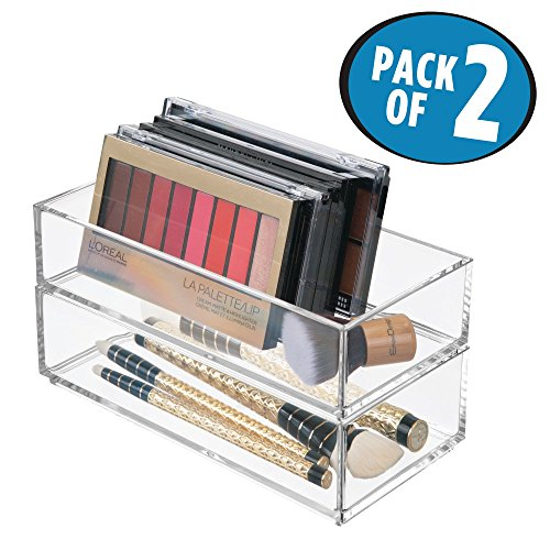 mDesign Makeup Organizer for Bathroom Drawers, Vanity, Countertop: Storage Bins for - Makeup Brushes, Eyeshadow Palettes, Lipstick, Lip Gloss, Blush, Concealers - 4