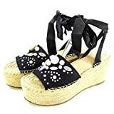 G by GUESS Womens Razzle Open Toe Casual Platform Sandals, Black Satin, Size 8.0