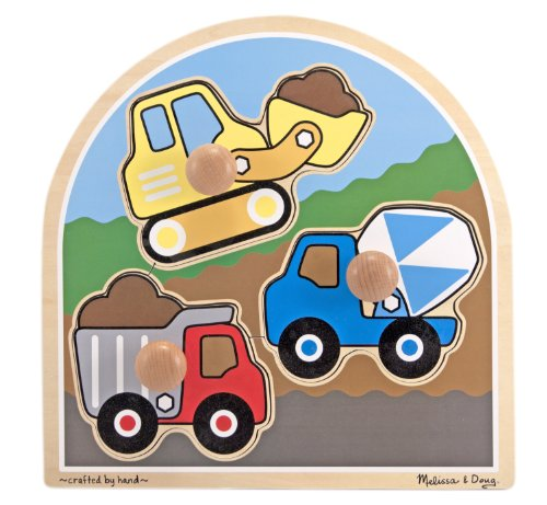 Melissa & Doug Construction Site Vehicles Jumbo Knob Wooden Puzzle