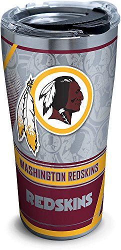 Tervis 1266691 NFL Washington Redskins Edge Stainless Steel Tumbler with Clear and Black Hammer Lid 20oz, Silver