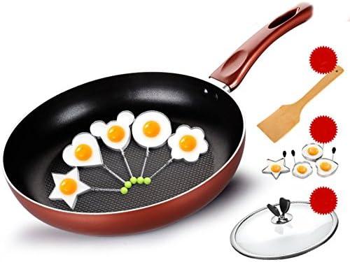 panss Sartenes antiadherentes de la Parrilla,Sartenes con Tapas de Vidrio Utensilios de Cocina Multifuncional Batería de Cocina Antiadherente de Aluminio ...