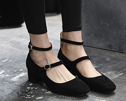 Retro zapatos nuevos hebilla de cabeza cuadrada de la boca baja solos zapatos de mujer en bruto con Black