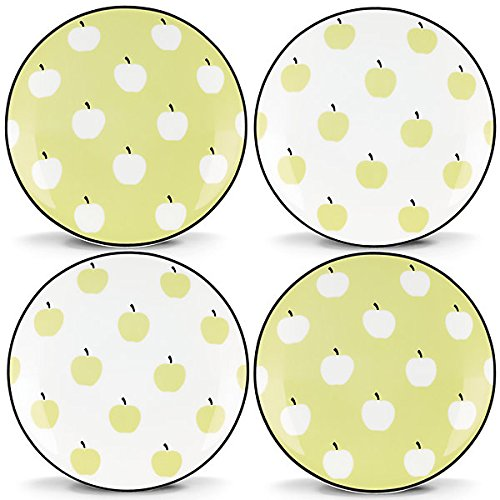 Kate Spade New York Wickford Orchard Green and White Porcelain Tidbit Plates, Set of -