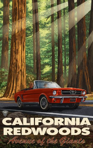 Northwest Art Mall California Redwoods Avenue of The Giants Mustang in Trees Artwork by Paul A. Lanquist, 11-Inch by 17-Inch