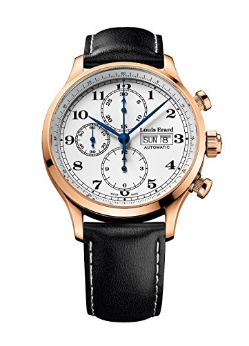 Louis Erard Men's 1931 42.5mm Black Leather Band Rose Gold Plated Case Automatic Watch 78225PR01.BRC02