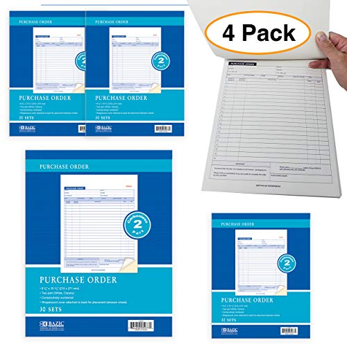 (2-Part Carbonless Purchase Sales Order Book (4 Pack) Letter Size Almost 8.5 x 11)