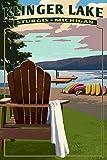 Klinger Lake - Sturgis, Michigan - Adirondack Chairs (24x36 Giclee Gallery Print, Wall Decor Travel Poster)