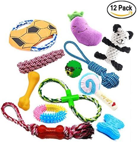 Durable perro juguetes, pack de 12 unidades, Pet algodón cuerda ...