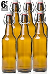Estilo Swing Top Easy Cap Glass Beer Bottles, Amber, 16 oz, Set of 6