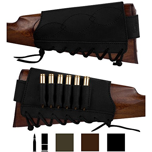 BronzeDog Adjustable Leather Buttstock Cartridge Ammo Holder for Rifles 12 16 Gauge or .30-30 .308 Caliber Hunting Ammo Pouch Bag Stock Right Handed Shotgun Shell Holder (Black, 7.62 Caliber)
