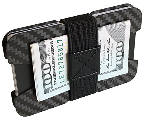 "(FIDELO Carbon Fiber Minimalist Wallet - Slim Credit Card Holder Money Clip Wallets for Men - Designed for Front Pocket EDC & Travel – Light Weight & Compact: 3.6"" x)"
