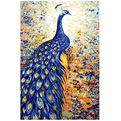 1000 Piece Jigsaw Puzzle for Adults & Kids - Beautiful Blue Peacock Painting Educational Assembling Toys - Developing Fine Motor Skills, Memory & Shape Sorting - Gift for Birthday & Mother's Day: Toys & Games