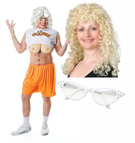 [Droopers Hooters Mens Bucks Fancy Dress Costume Blonde Wig & Glasses] (Hooters Costume For Men)