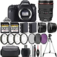 Canon EOS 6D DSLR Camera + Canon 24-105mm IS USM Lens + 0.43X Wide Angle Lens + 2.2x Telephoto Lens + 64GB Storage + 4PC Macro Kit + UV-CPL-FLD Filters + Backup Battery - International Version