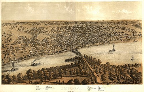 Peoria, Illinois - (1867) - Panoramic Map (16x24 SIGNED Print Master Giclee Print w/Certificate of Authenticity - Wall Decor Travel - 1867 Map Illinois