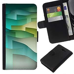 Stuss Case / Funda Carcasa PU de Cuero - Olas de tono pastel minimalista - Sony Xperia M2