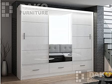Armario Puerta corredera espejo marsylia blanco brillante – 8,2 pies/250 cm Ancho: Amazon.es: Hogar