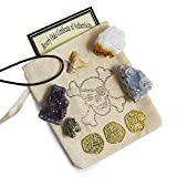 Beverly Oaks Pirate Treasure Pouch Set 9 Pcs Collection - 3 Gold Pirate Coins, 1 Shark Tooth Necklace, 1 Pyrite Stone, 3 Crystal Clusters: Amethyst, Citrine, Blue Celestine in 1 Canvas Pouch, COA