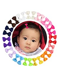Grosgrain Ribbon Hair Bows Alligator Hair Clips for Baby Girl Toddlers Kids (30pcs/15 pairs 2 Inch)