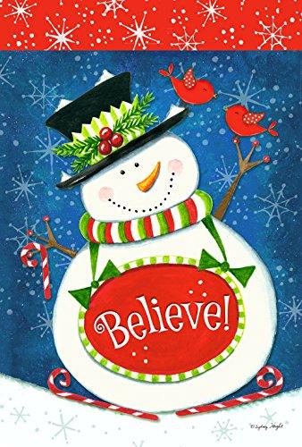 Toland Home Garden Snowman Believe 12.5 x 18 Inch Decorative Colorful Winter Christmas Holiday Cardinal Garden Flag