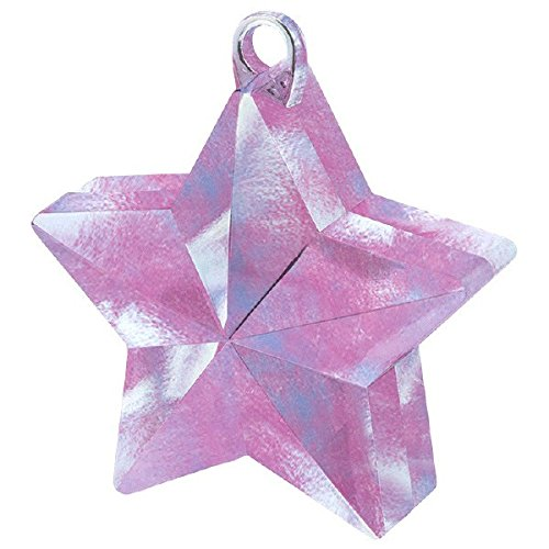 Amscan Twinkle Star Balloon Weight Party Decoration,, 1 Pieces, Made from Plastic Foil, Iridescent, 6 oz