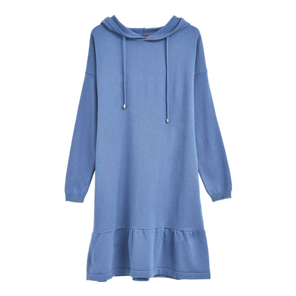 blueE Maternity Clothes Ruffle Ham Loose Dress Elegant Solid color Hooded Skirt Breastfeeding Clothes Soft and Snug Pregnant Women Gift (color   bluee, Size   ONE)