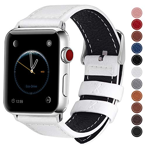 Fullmosa Compatible Watch Band 38mm 40mm 42mm 44mm Genuine Leather iWatch Bands,38mm 40mm White + Silver Buckle