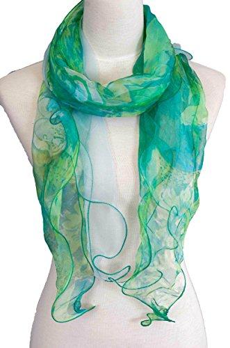 Double Layer 100% Silk, Floral Ruffle Silk Scarf, Summer scarf
