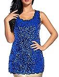 Flapper Girl Women's Shimmer Glam Sequin Lace Sparkle Tank Vest Tops (XXL, Blue)