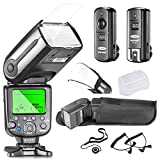 Neewer NW565EX Professional E-TTL Slave Flash Speedlite Kit for Canon DSLR Cameras- Includes: Neewer Auto-Focus Flash+2.4G Wireless Trigger+C1/C3 Cables+Hard & Soft Diffuser+Lens Cap Holder