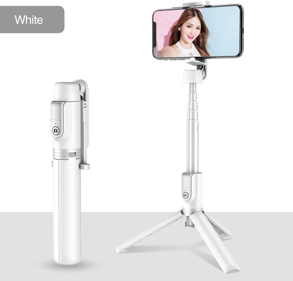 Bluetooth Selfie Stick Tripod, Mini Extendable 3 in 1 Aluminum Selfie Stick with Wireless Remote and Tripod Stand with 270 Rotation Function for iPhone 11/ Pro/XS Max/XS/XR/X/8/7 (White)