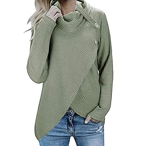 Byyong Women's Casual Long Sleeve Loose Button Cowl Neck Casual Knitted Pullover Tunic -