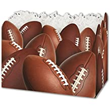 """Patterned Specialty & Event Boxes - Football Gift Basket Boxes, 6 3/4 x 4 x 5"""" (6 Boxes) - BOWS-4917FTBL"""