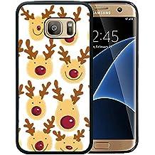 Samsung S7 Edge Case Cartoon Christmas elk, Galaxy S7 Edge Christmas Case, Customized Black Soft Rubber TPU Samsung Galaxy S7 Edge Case