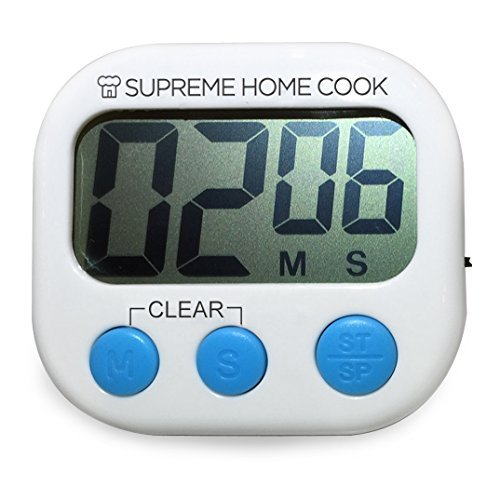 (Supreme Home Cook Extra Large Digit Electronic Digital Kitchen Countdown Timer (Blue buttons))
