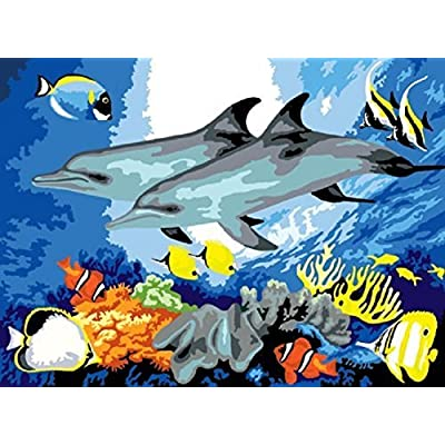 Royal & Langnickel PJS24 Painting by Numbers Junior Small Art Activity Kit, Dolphins: Arts, Crafts & Sewing
