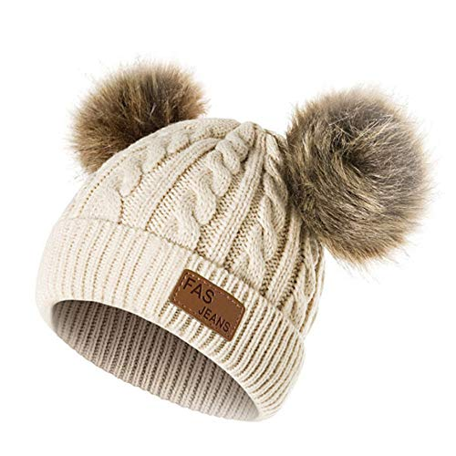 Longay Double Ball Children's Wool Hat Twist Wool Ball Baby Knitted Cap Elasticity (A) ()