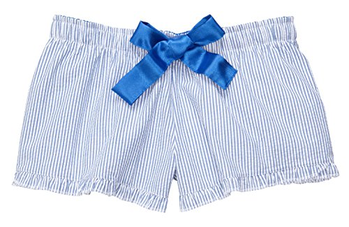 boxercraft Women's Seersucker Bitty Boxer Short Ruffle Hem, Small, Blue by boxercraft