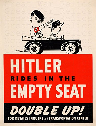 (UpCrafts Studio Design Funny Hitler Propaganda Poster, Size 11.7x16.5 inches - Hitler Rides in The Empty SEAT - Adolf Hitler Memes Americanww2PropagandaPoster )