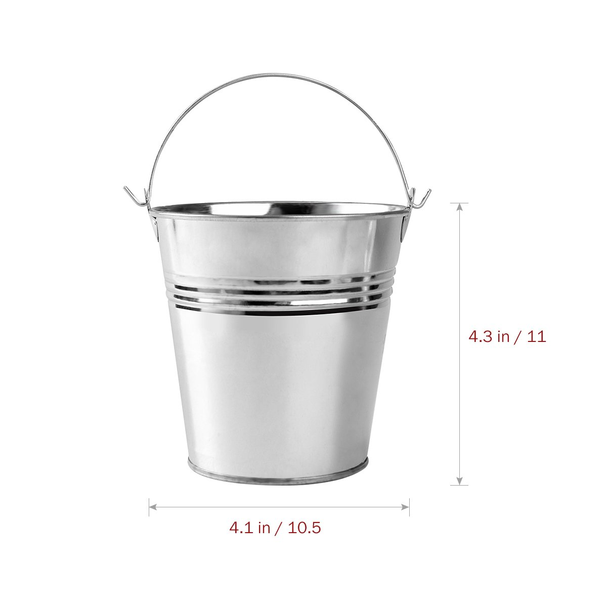 OUNONA Mini Metal Bucket Set of 6 /Mini Food Containers/Succulent Wedding Buckets 10.5x7.2x10.5cm by OUNONA (Image #5)