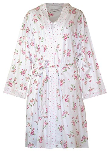 Carole Hochman Travel Set - Robe and Nightgown Set (White Pink Floral Dot Outlined Print, Medium) (Carole Hochman Print Robe)