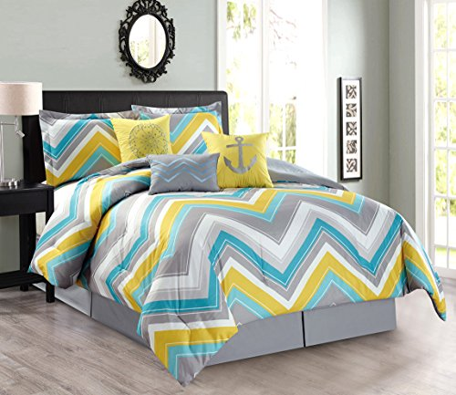 11-Piece Oversize Zigzag Designer Nautical Anchor Comforter Set (California) Cal King Size Bed In A Bag with Sheets and Decorative Pillows (Turquoise Blue, Yellow, Grey) ()
